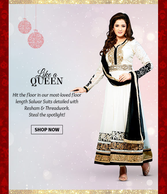 Select from our lovely Collection of floor length Salwar Suits. Buy Now!
