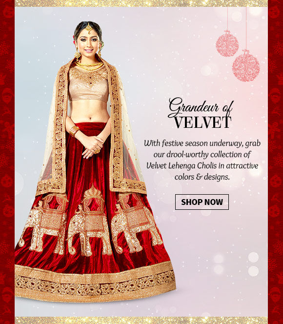 A myriad of Velvet Lehenga Cholis in attractive hues & styles. Buy Now!