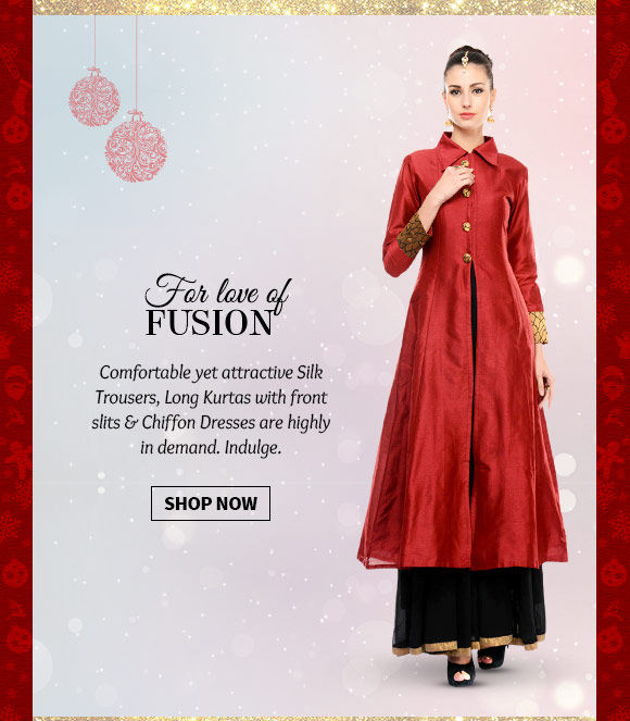 A lovely collection of Silk Trousers, Long Kurtas with front slits & Chiffon Dresses. Buy Now