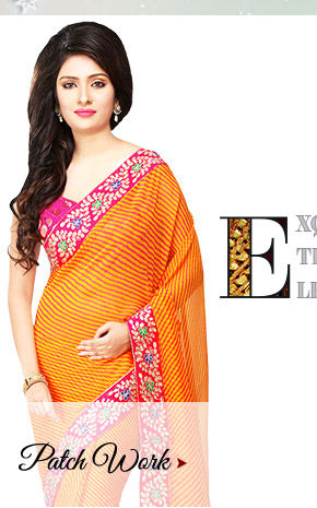 Gota & Patch work on Georgette Sarees, Straight Suits, Net Lehengas with Jewelry & more. Shop!