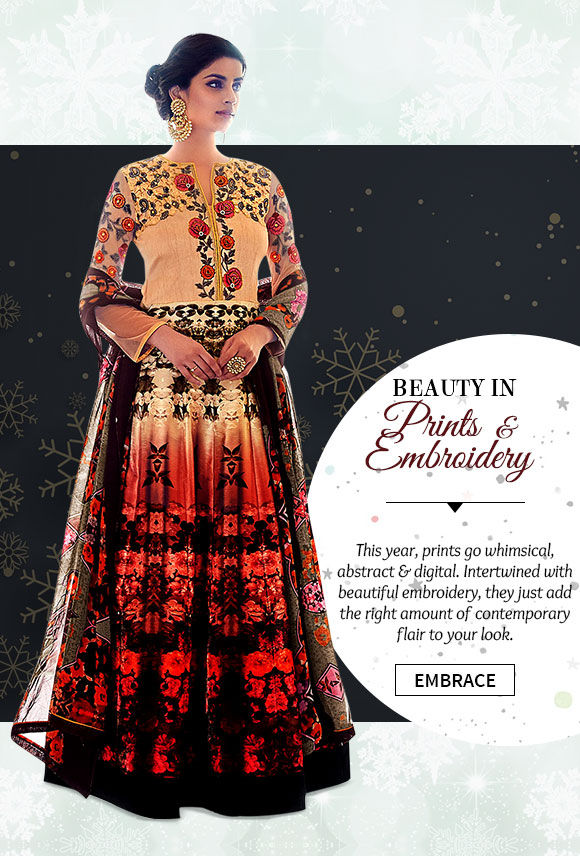 Choose from our beautiful array of Attires with Abstract & Digital prints. Buy Now!
