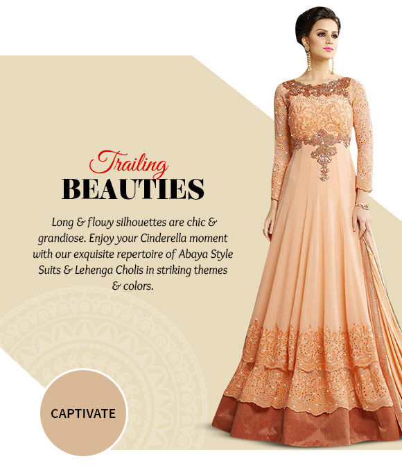 Pick your favorite from our lovely collection of Lehenga Cholis & Abaya Style Suits. Buy Now!