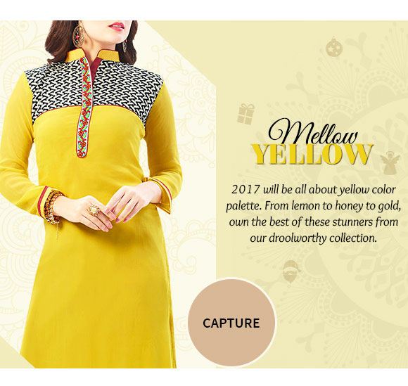 A myriad of stunning Sarees, Salwar Suits, Jewelry, Indo-western & more in yellow hue. Buy Now!