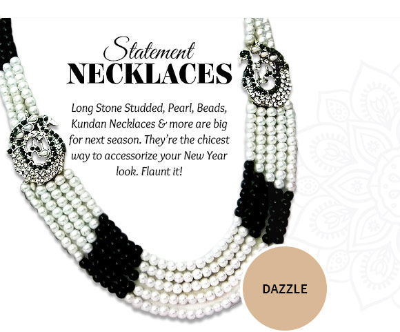 A lovely collection of Stone Studded, Pearl, Beads, Kundan Necklaces & more. Buy Now!