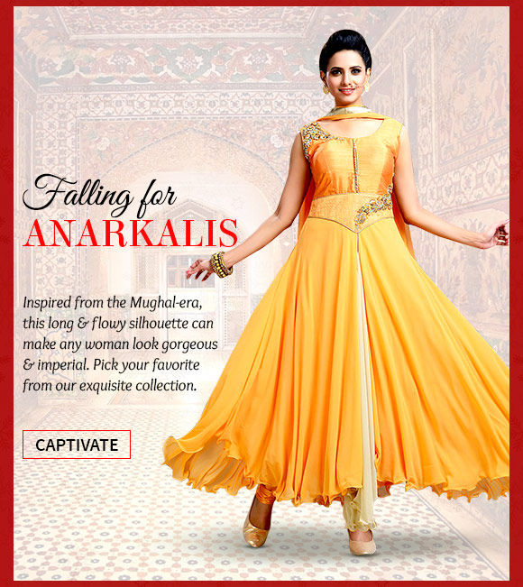 Choose from a beautiful array of Anarkali Style Suits. Buy Now!