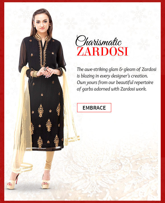 Pick your favorite from our beautiful collection of Sarees, Salwar Kameez & more with Zardosi work. Buy Now!