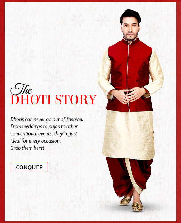 Choose from our vast range of Dhotis in striking designs & colors. Buy Now!
