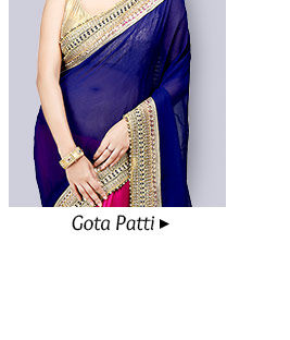 Choose from our beautiful array of Sarees adorned with Gota Patti. Buy Now!