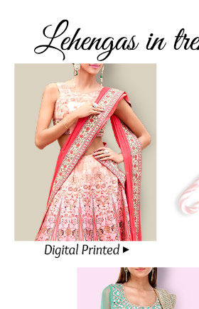Select from our inspiring range of Digital Printed Lehengas. Buy Now!