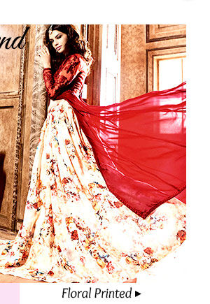 Beautiful collection of Floral Printed Lehengas. Buy Now!