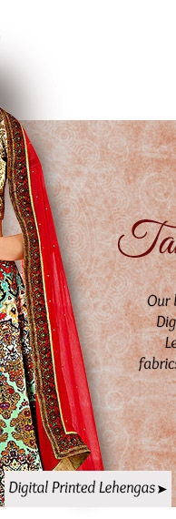 A lovely collection of Digital Printed Lehengas. Buy Now!