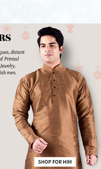 Readymade Silk Kurtas & more for relatives & male colleagues under $50. Shop!