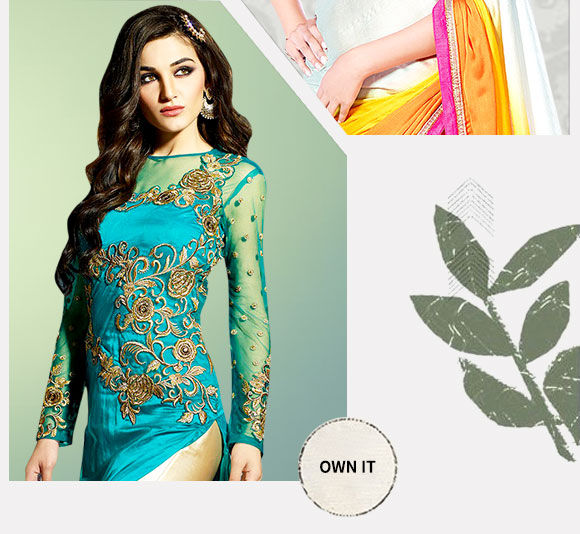 An array of form-flattering Chiffon Sarees & Front Slit Suits. Buy now!