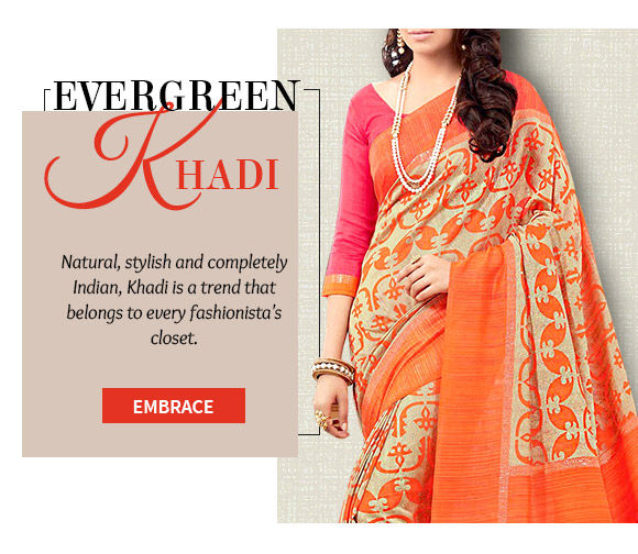 Khadi ensembles in earthy and vibrant hues. Shop!