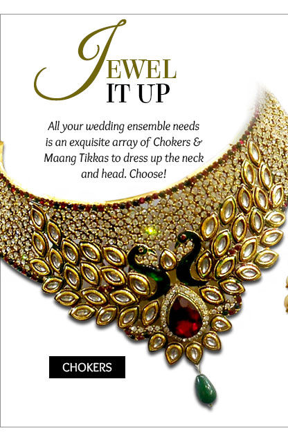A beautiful lineup of Chokers & Maatha Pattis for the bridal look. Shop!
