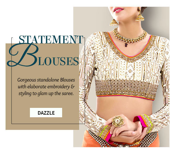 Designer Blouses with customized styling and work in different colors. Shop!