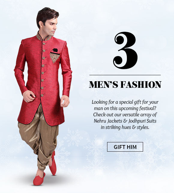 Nehru Jackets & Jodhpuri Suits in striking hues & styles. Buy Now!