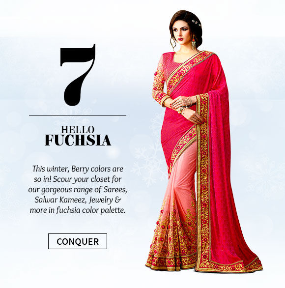 A beautiful range of Sarees, Salwar Kameez, Jewelry & more in fuchsia hue. Buy Now!