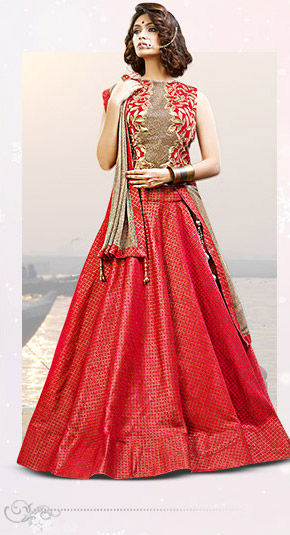 A myriad of awe-striking woven Lehengas. Buy Now