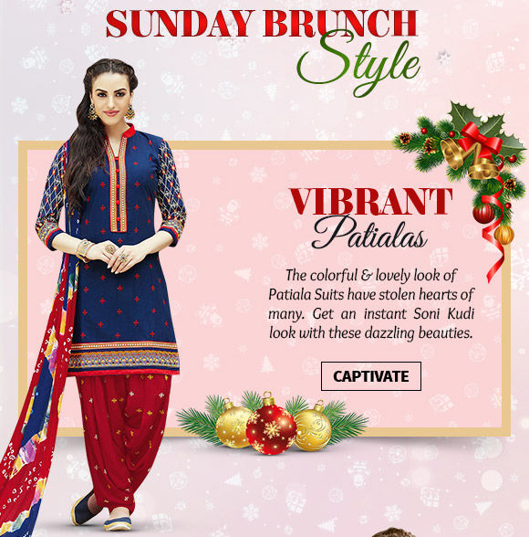 A myriad of Patiala Suits in striking hues. Buy Now!