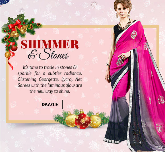 A gorgeous collection of Shimmery & Sequined Sarees. Buy Now!