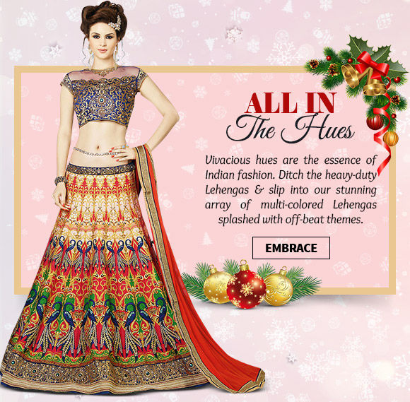 Stunning array of Multi-colored Lehenga Cholis. Buy Now!