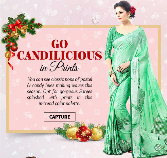 A myriad of beautiful Sarees with prints in candilicious hues. Buy Now!