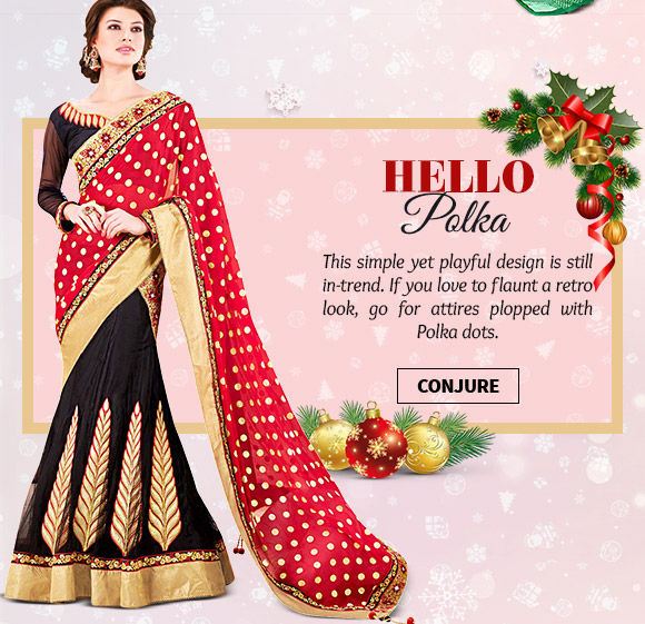 Choose from our lovely range of attires with Polka Dots. Buy Now!
