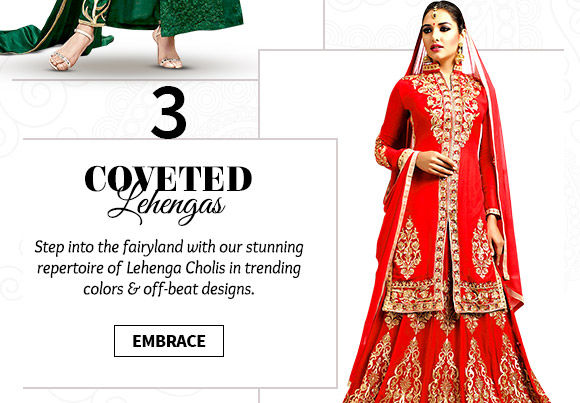A myriad of beautiful A-line, Mermaid, Circular & Indo-Western Lehenga Cholis. Buy Now!