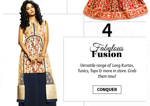 Select from our lovely collection of Long Kurtas, Tunics, Tops & more. Buy Now!