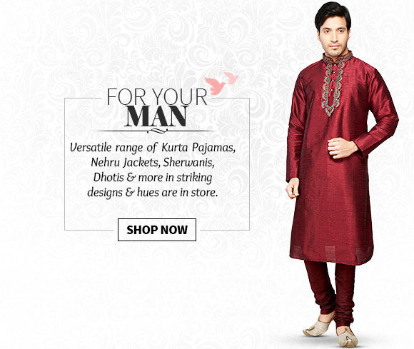 Kurta Pajamas, Nehru Jackets, Sherwanis, Dhotis & more in striking designs & hues. Buy Now!