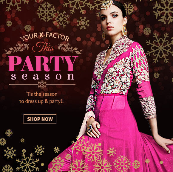 Christmas Party Ensembles: Stone work Sarees, Anarkalis, Gowns, Add-ons & more. Shop Now!