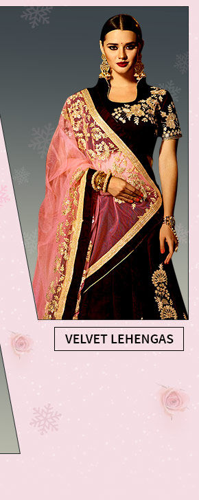 Velvet Lehengas in Circular and Indo Western styles. Shop!