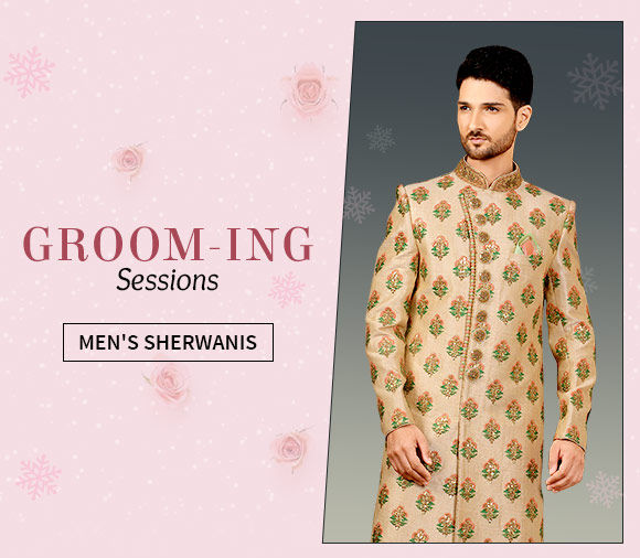 Men's Sherwanis in Brocade, Jacquard, Velvet and more. Shop!