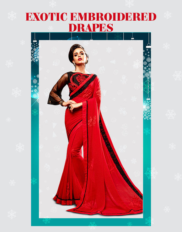 Xmas party edit: Embroidered Sarees. Shop!