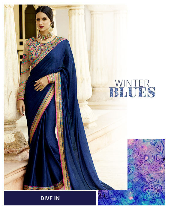 Indian ethnic attires in blue color. Shop!